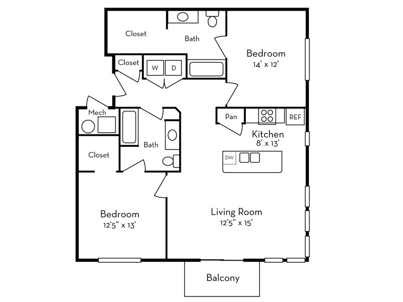 Our 2 Bedroom (2-3) is a 2 Bedroom, 2 Bathroom Apartment