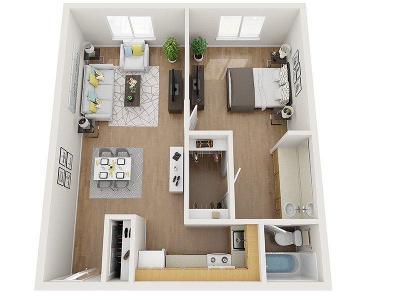 Our 1x1 80% is a 1 Bedroom, 1 Bathroom Apartment
