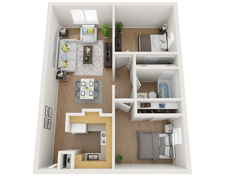 Our 2x1 50% is a 2 Bedroom, 1 Bathroom Apartment