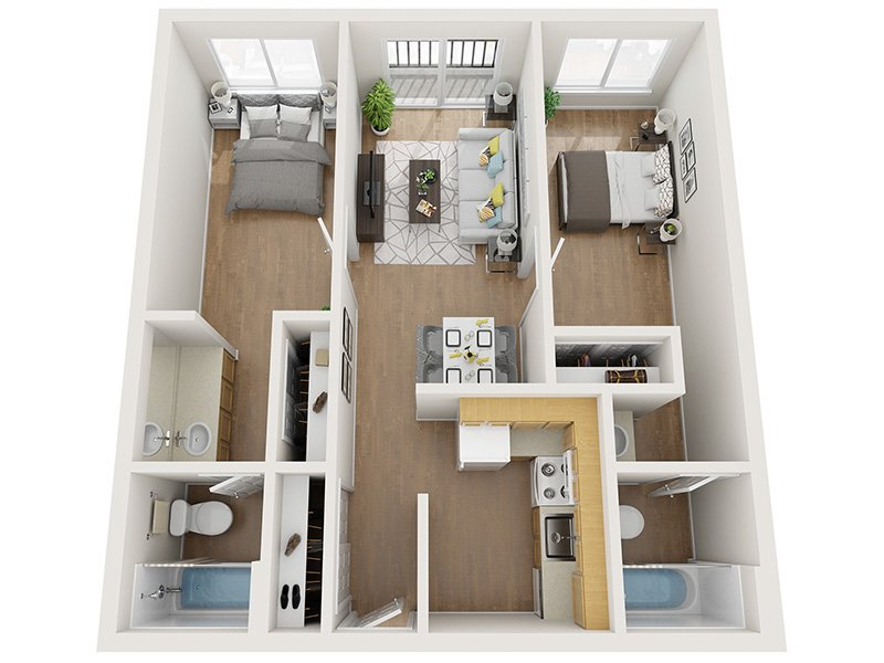 Our 2x2 80% is a 2 Bedroom, 2 Bathroom Apartment