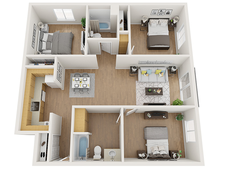 Our 3x2 50% is a 3 Bedroom, 2 Bathroom Apartment