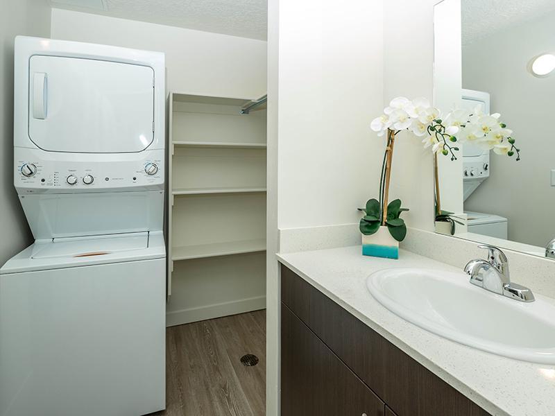 Bathroom & W/D  | Paxton 365 Apartments