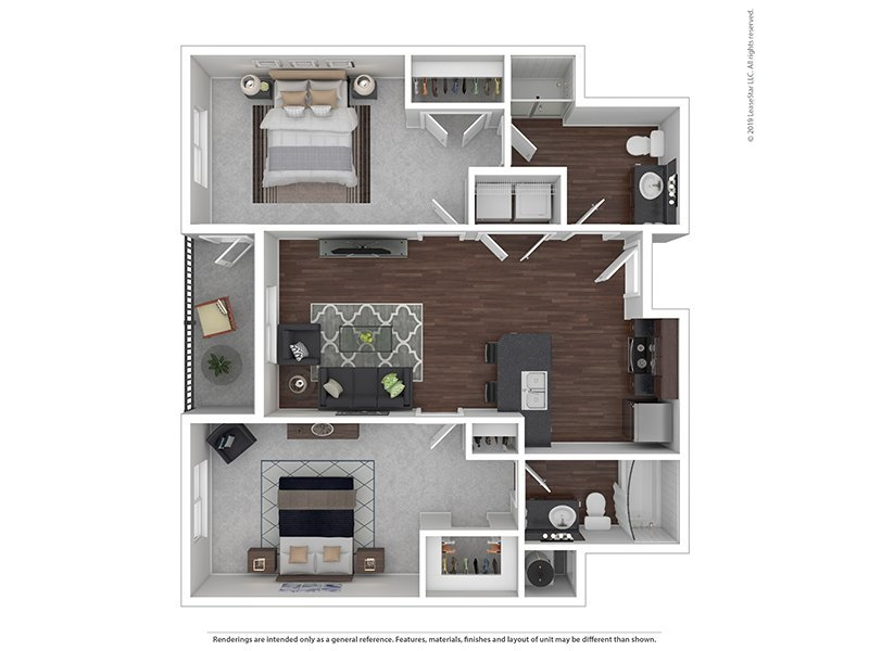 Our D is a 2 Bedroom, 2 Bathroom Apartment