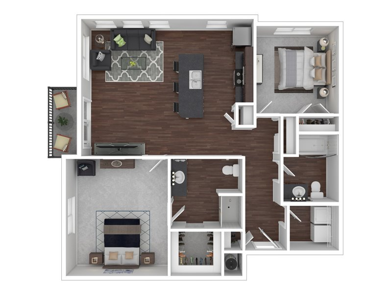 Our  E is a 2 Bedroom, 2 Bathroom Apartment