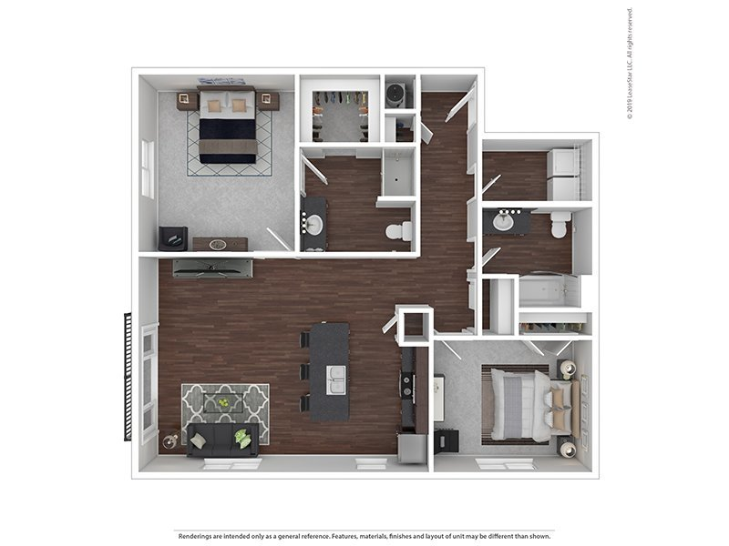 Our J is a 2 Bedroom, 2 Bathroom Apartment