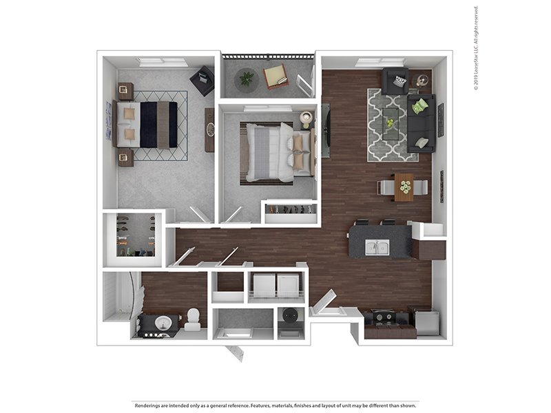 Our M is a 2 Bedroom, 1 Bathroom Apartment