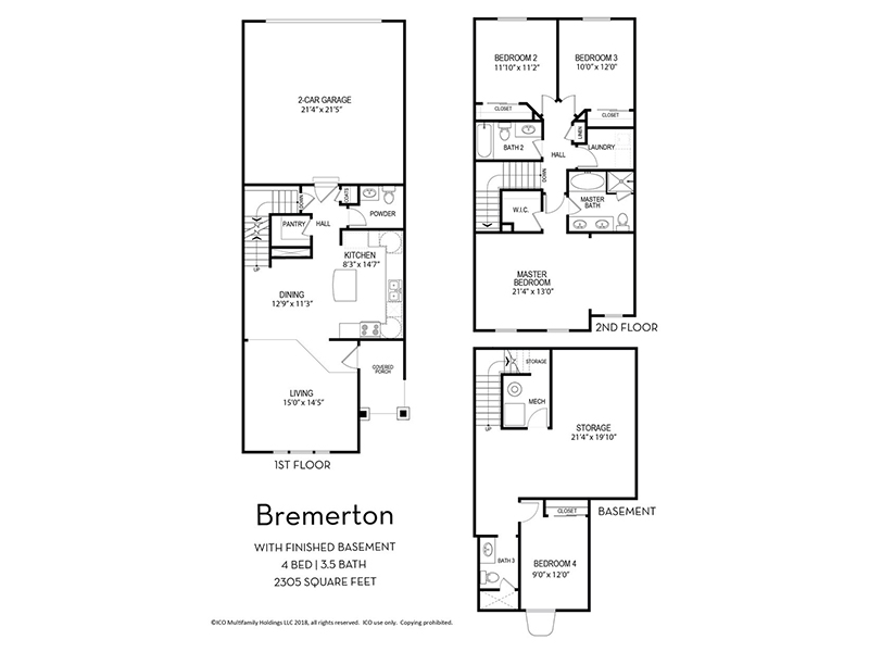Floor Plans at Parkview Towns Apartments