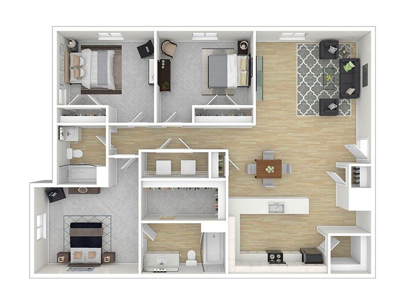 Our The Cedar is a 3 Bedroom, 2 Bathroom Apartment