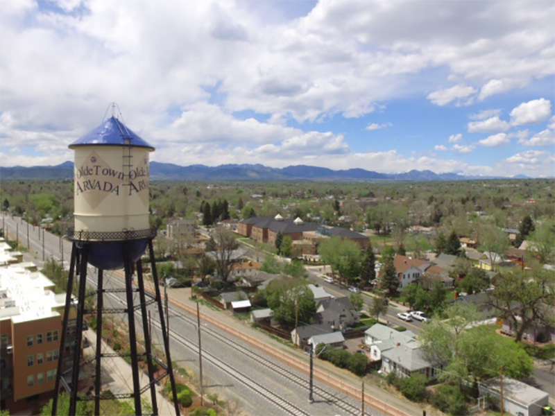 Aerial View   The Reserve at Water Tower Village Apartments in Arvada, CO
