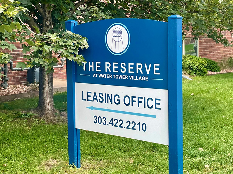 Sign   The Reserve at Water Tower Village Apartments in Arvada, CO