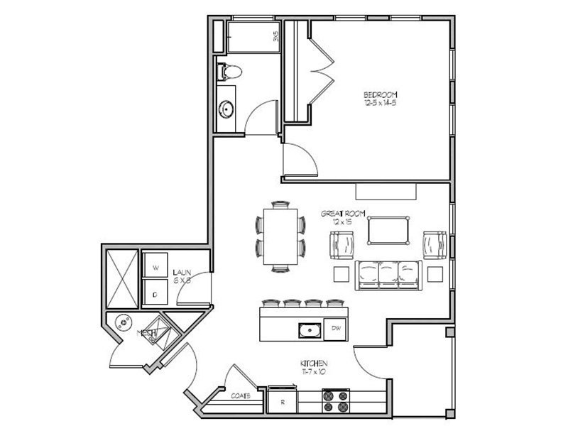 Our 1F is a 1 Bedroom, 1 Bathroom Apartment