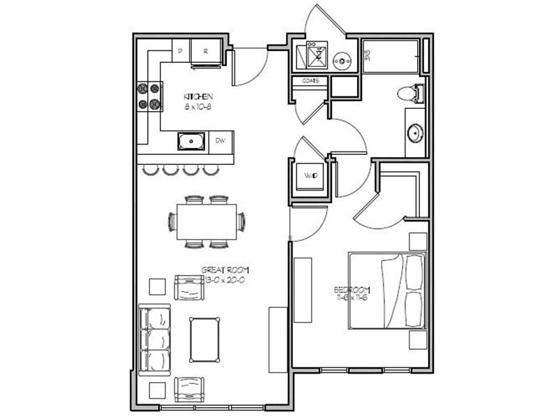 Our 1H is a 1 Bedroom, 1 Bathroom Apartment