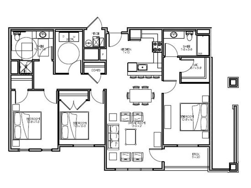 Our 3A is a 3 Bedroom, 2 Bathroom Apartment