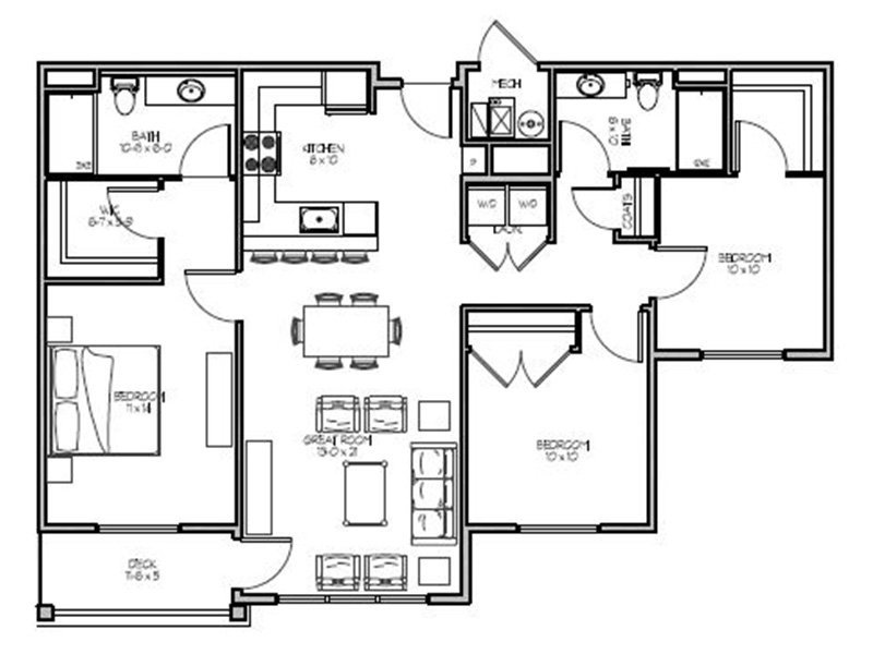 Our 3D is a 2 Bedroom, 2 Bathroom Apartment