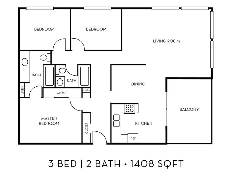 Our The Lakeside 3x2 W/D is a 3 Bedroom, 2 Bathroom Apartment