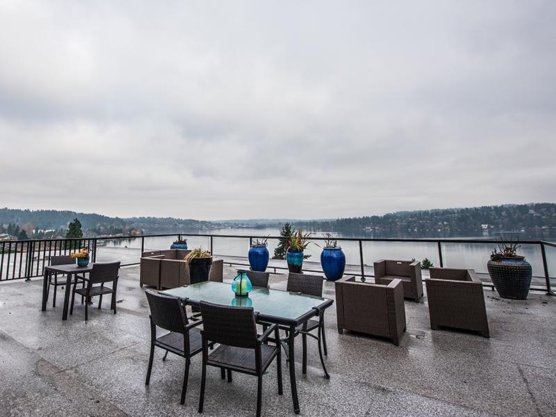 Rooftop Lounge Views | Sheridan Beach Terrace Lake Forest Park Apartments