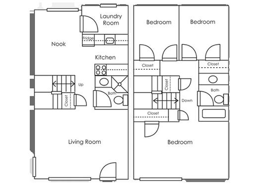 Floorplan for Sierra Park Townhomes Apartments