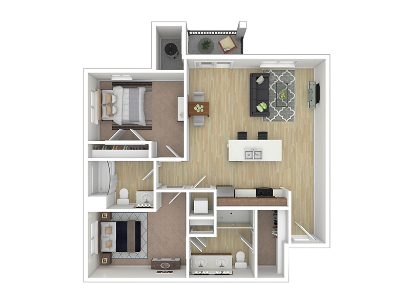 Our The Turquoise is a 2 Bedroom, 2 Bathroom Apartment