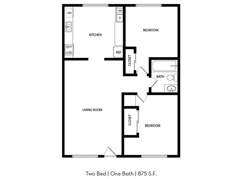 Our 2x1 is a 1 Bedroom, 2 Bathroom Apartment