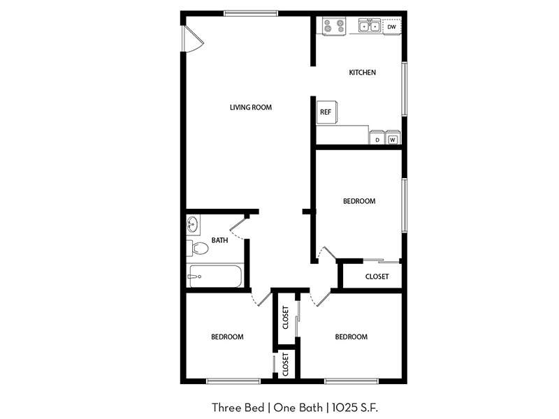 Our 3x1 Renovated Plus is a 3 Bedroom, 1 Bathroom Apartment