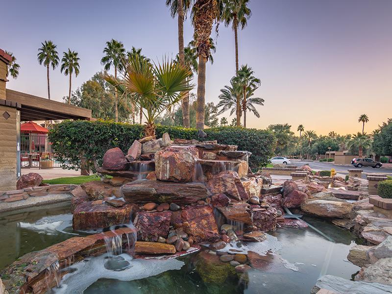Exterior Waterfall | La Privada Apartments In Scottsdale, AZ
