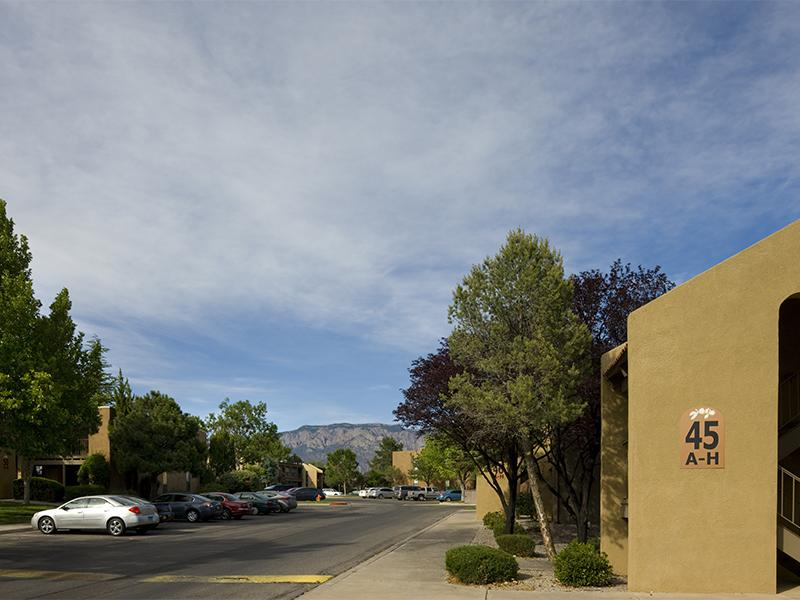 Parking Area at Spain Gardens Apartments for rent in Albuquerque, NM 87111