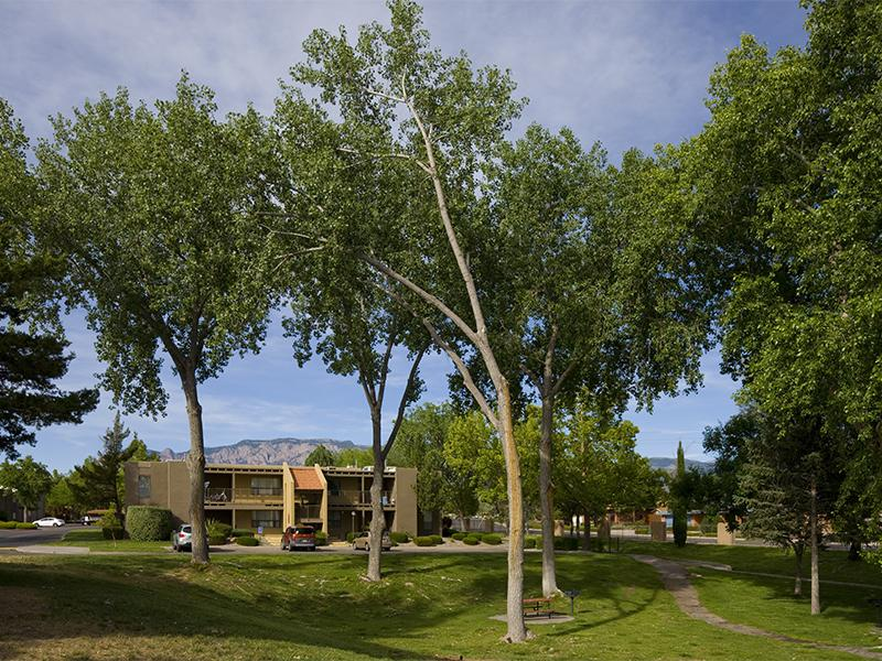 Beautifully Landscaped Grounds at Spain Gardens Apartments, NM, 87111