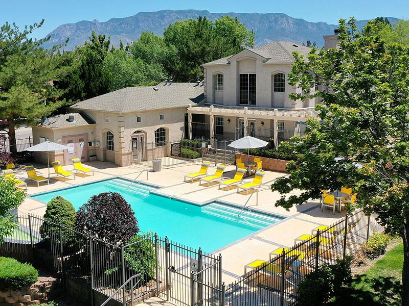 Pool Aerial View | The Enclave Apartments in Albuquerque, NM