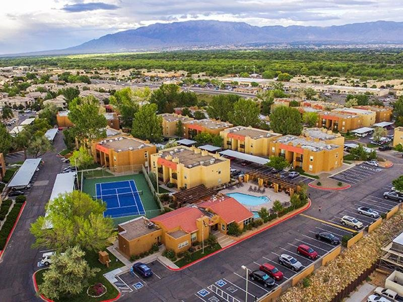 Drone Neighborhood View | Sombra del Oso Apartments in Albuquerque NM