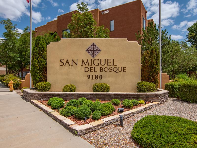 Monument Sign | San Miguel Del Bosque Apartments in Albuquerque, NM