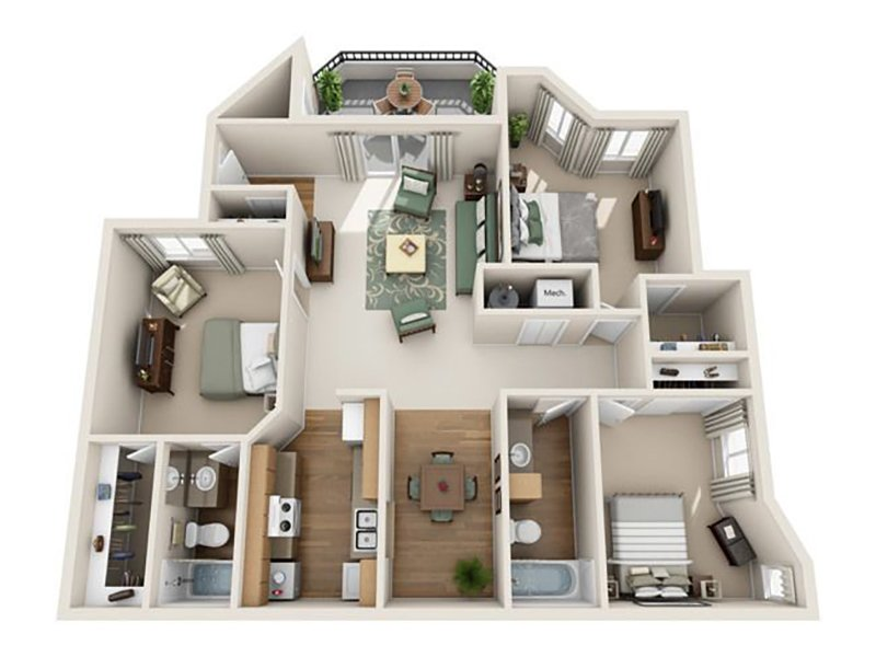 Floor Plans at Seasons At Pebble Creek Apartments