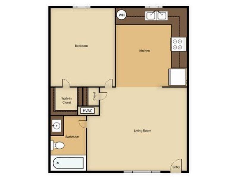 Portola at Grovers Park Apartments Floor Plan 1 Bedroom 1 Bathroom
