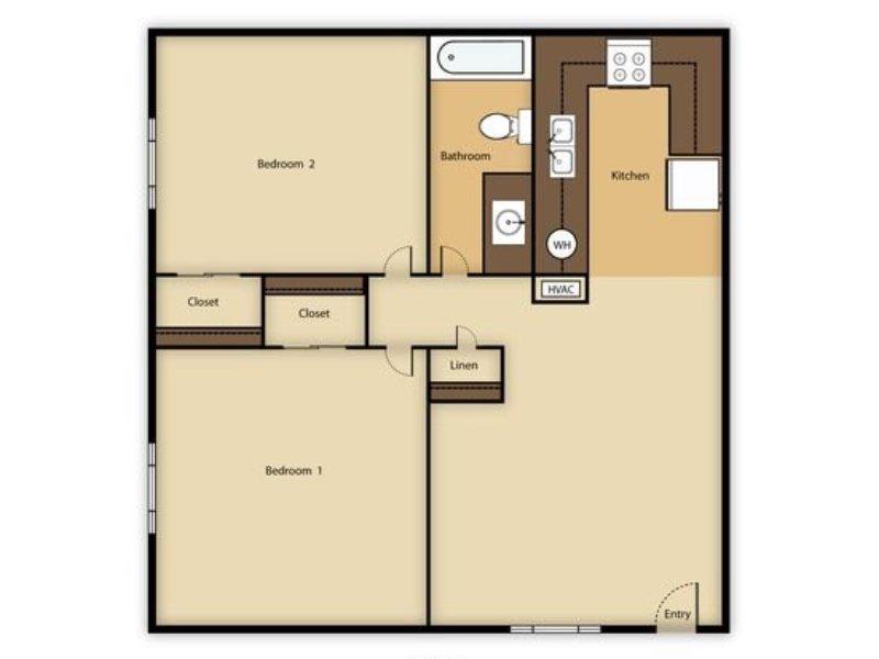 Portola at Grovers Park Apartments Floor Plan 2 Bedroom 1 Bathroom A