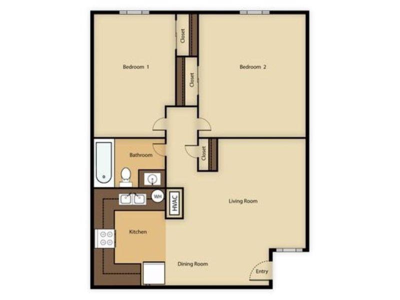 Portola at Grovers Park Apartments Floor Plan 2 Bedroom 1 Bathroom B