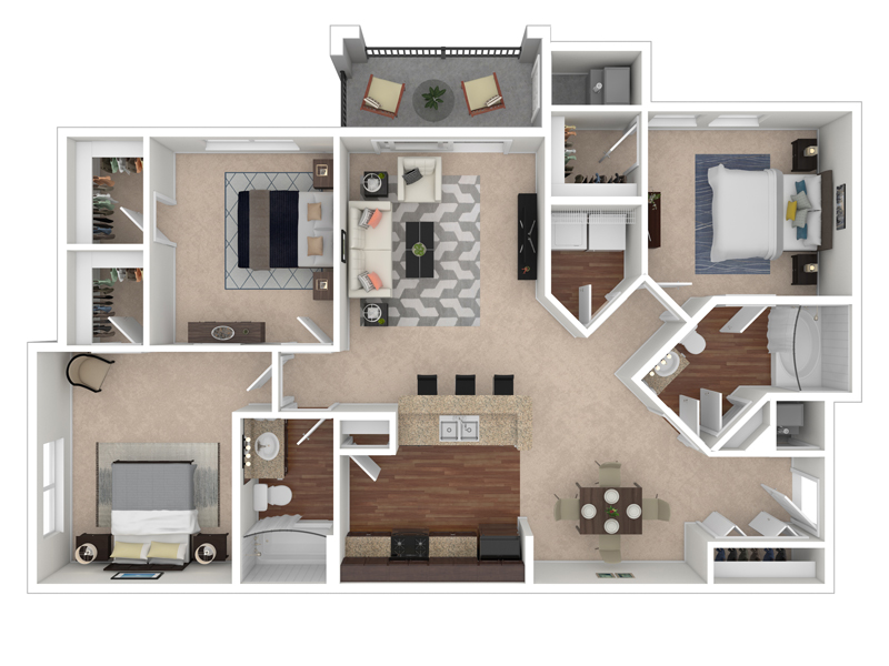 The Park at Southwood Apartments Floor Plan The Gideon