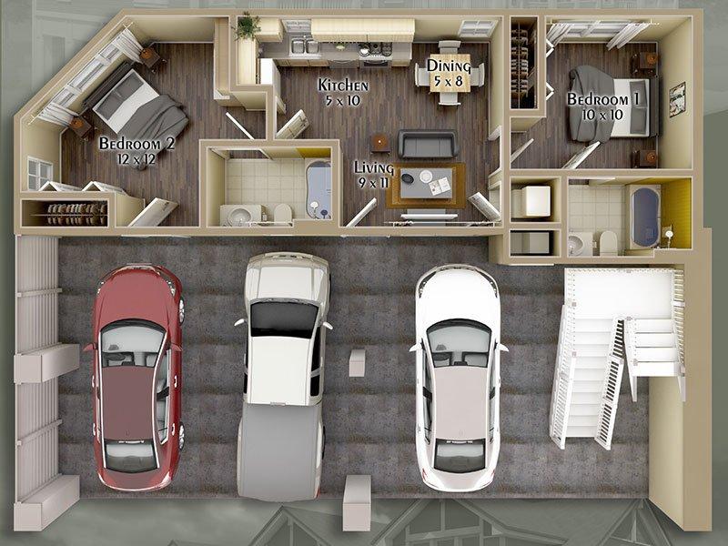 Hayden Commons Apartments Floor Plan 2 Bedroom 2 Bath