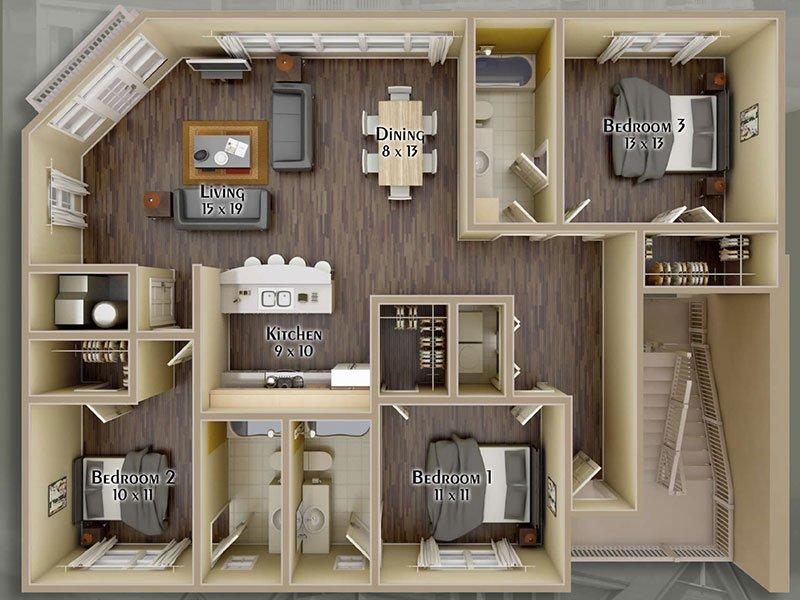 Hayden Commons Apartments Floor Plan 3 Bedroom 3 Bath