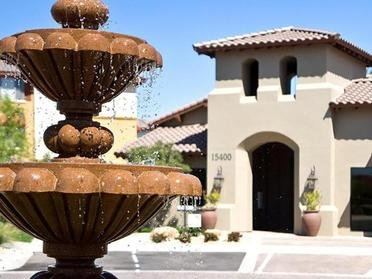 Leasing Center With Fountain Close Up | Serafina Apartment Homes