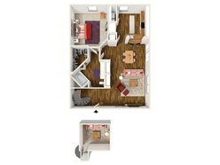1 Bedroom / 1 Bath - A3