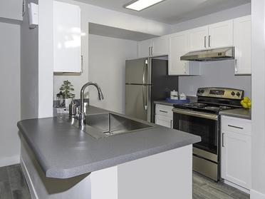 Apartments for Rent in Taylorsville - Gourmet Kitchen with Stainless Steel Appliances and Bar Top Counter