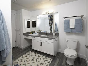 Apartments in Sandy - Alpine Meadows Bathroom with Large Vanity and Ample Storage