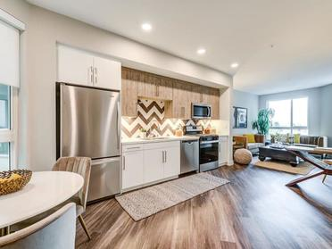 Kitchen and Living Room | The Link Apartments in Glendale, CA