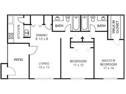 Oak - 2 Bedroom / 2 Bath
