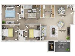 Three Bedroom One And Half Bath (D)