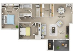 Two Bedroom One and Half Bath (B)