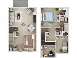 Two Bedroom One and Half Bath Townhome (BTH)