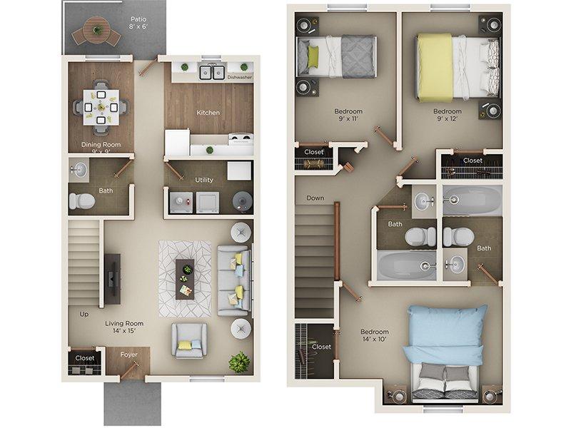 Deluxe Three Bedroom 2 5 Bathroom Townhome The Vista Apartments Portage Mi