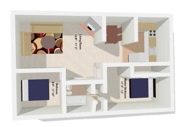 Atherton Park Apartments Floor Plan 3rd Floor (Corner Unit)