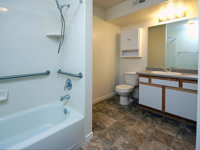 Bathroom With Side Handles | Coventry Cove Senior Apartments