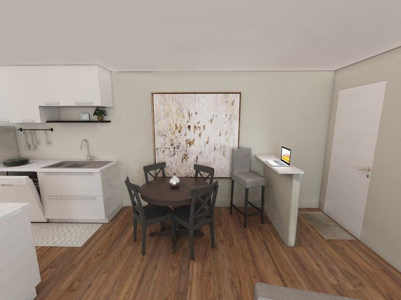 Dining Room & Kitchen Rendering  | Edge at Fitzsimons Apartments